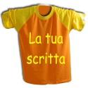 T-shirt Arancione con maniche gialle e testo personalizzato giallo