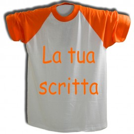 T-shirt Bianca con maniche arancioni e testo personalizzato arancione
