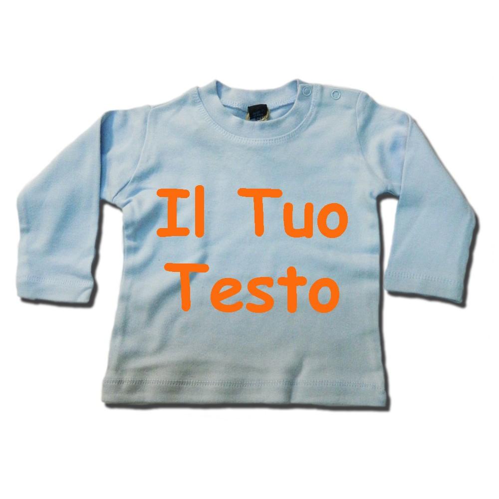 t-shirt personalizzata manica lunga celeste 100% cotone